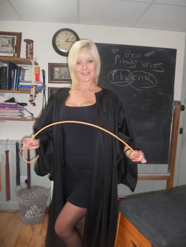The Headmistress is very strict with naughty boys!